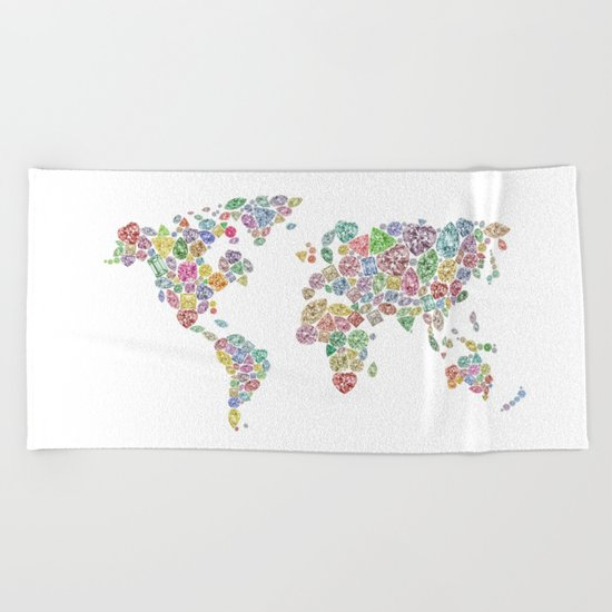 Diamonds World Map #3 Beach Towel