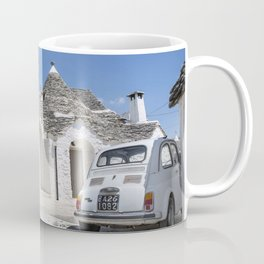 Trulli houses in Italy with vintage car Coffee Mug
