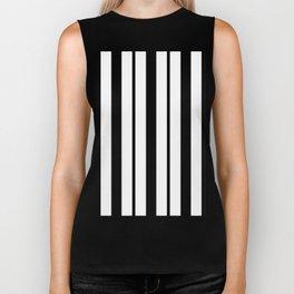 Black & White Stripes - Thick & Thin Biker Tank