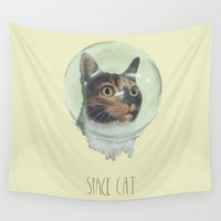 space cat Wall Tapestries featuring Space Cat by MaryAube