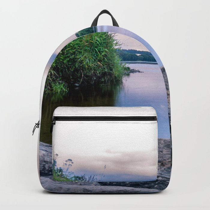 Long Exposure Photo of The River Tay in Perth Scotland Backpack