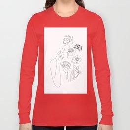 Minimal Line Art Woman with Flowers III Long Sleeve T-shirt