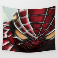 spider man Wall Tapestries featuring Spider-Man by Inspirations