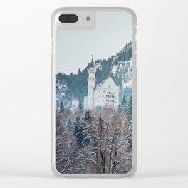 Neuschwanstein Castle with Bavarian Alps in background Clear iPhone Case