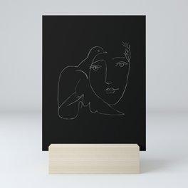 Picasso Line Art - Dove and Woman Mini Art Print