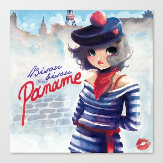 Bisou bisou from Paname Canvas Print