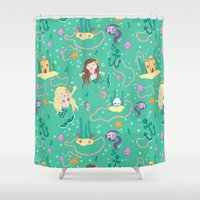 mermaids Shower Curtains featuring Mermaids by lindsey salles