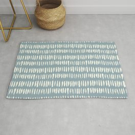 Cream & Pastel Blue Bold Grunge Vertical Stripe Dash Line Pattern Inspired by 2020 Color of the Year Rug
