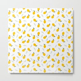 Fresh Lemons / Minimalist style citrus pattern  Metal Print