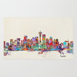 Seattle Washington skyline Rug