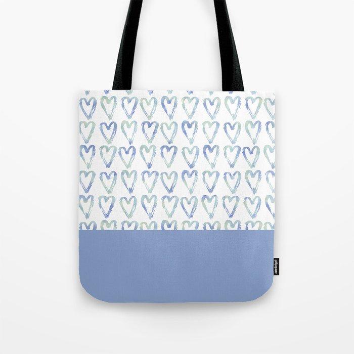 Heart Pattern Blue Tote Bag