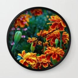 Marigolds in Garden Wall Clock
