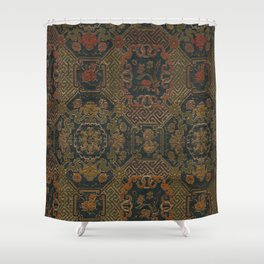 19th Century Chinese Silk Textile Shower Curtain