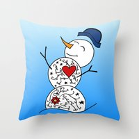 snowman Throw Pillows featuring Snowman  by #dancingpenguin