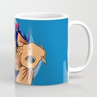 koi fish Mugs featuring koi fish by Pinkspoisons