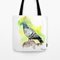 pigeon Tote Bags featuring Pigeon by Elena Sandovici