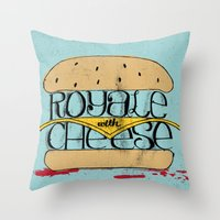 pulp Throw Pillows featuring Pulp Fiction by Drew Wallace