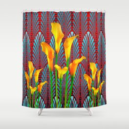 DECORATIVE RED & BLUE DECO GOLDEN CALLA  LILIES ART Shower Curtain