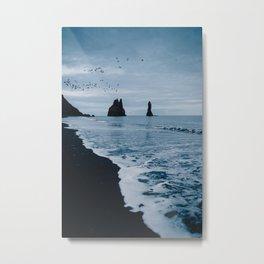 Iceland's Black Sand Beach Metal Print