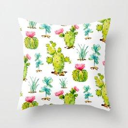 Green Cactus Watercolor Throw Pillow