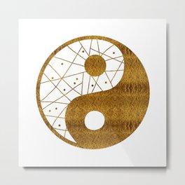 Abstract YIN AND YANG Taijitu Symbol | gold Metal Print