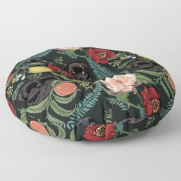 Botanical and Black Pugs Floor Pillow
