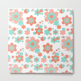 Coral and Mint Green Floral Metal Print