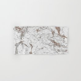 White frost - rose gold marble Hand & Bath Towel