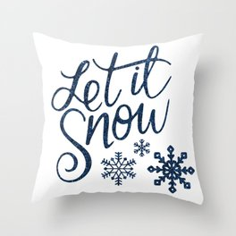 Let It Snow Blue Glitter Typography Winter Throw Pillow