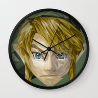 video games Wall Clocks featuring Triangles Video Games Heroes - Link by s2lart