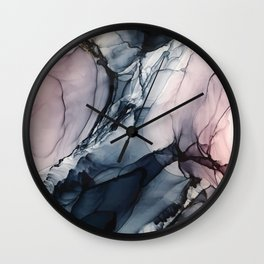 Blush, Navy and Gray Abstract Calm Clouds Wall Clock
