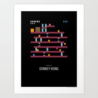 donkey kong Art Prints featuring Minimal NES - Donkey Kong by Sound of Design