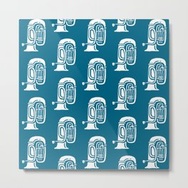 Tuba Pattern Peacock Blue Metal Print