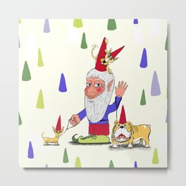A gnome, two dogs, and a cat Metal Print