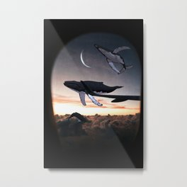 Whales Flying Above The Clouds-Looking Out The Window Metal Print