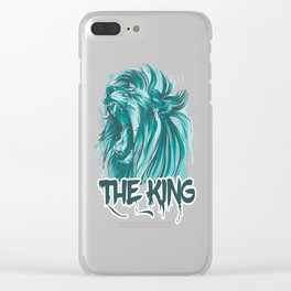 Blue Lion (The King Of Jungle) Vector Style Clear iPhone Case