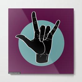 ILY - I Love You - Sign Language - Black on Green Blue 08 Metal Print