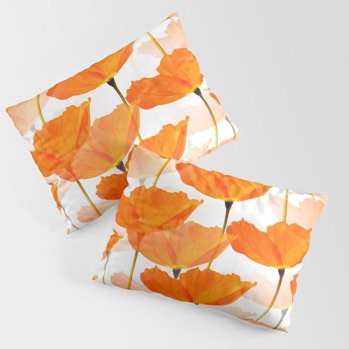 Orange Poppies On A White Background #decor #society6 #buyart Kissenbezug