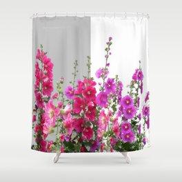 Red, pink, purple Hollyhocks garden Shower Curtain