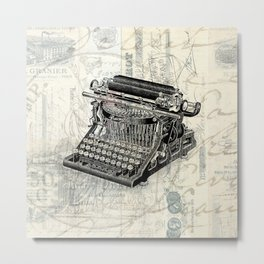 Vintage French Typewriter Metal Print