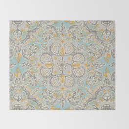 Gypsy Floral in Soft Neutrals, Grey & Yellow on Sage Throw Blanket
