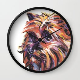 Fun Red Cairn Terrier Dog Portrait bright colorful Pop Art by LEA Wall Clock