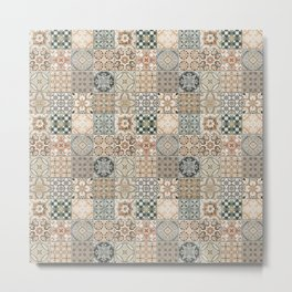 N49 - Oriental Traditional Moroccan Farmhouse Style Texture Artwork. Metal Print