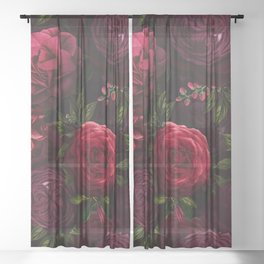 Vintage & Shabby Chic - Vintage & Shabby Chic - Mystical Night Roses Sheer Curtain