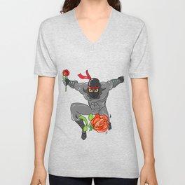 Romantic Ninja - Love Valentine's day Rose Unisex V-Neck