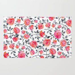 Roses on White - a watercolor floral pattern Rug