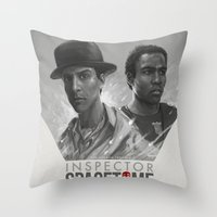 doctor Throw Pillows featuring Inspector Spacetime  by Sam Spratt