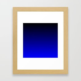 Midnight Black to blue ombre flame gradient Framed Art Print