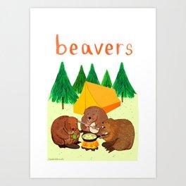 Beavers Illustration Art Print