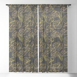 Monstera (Black Glow) - Gold Sheer Curtain
